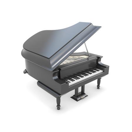 instrumentos musicales: Negro piano de cola aislado en el fondo blanco. Instrumento de m�sica 3d ilustraci�n. Foto de archivo