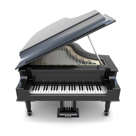 3 d 黒いグランド ピアノ ホワイト バック グラウンドに分離されました。楽器。