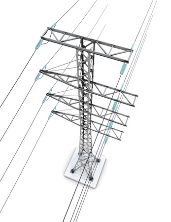 Electric pylons isolated on white background. 3d render image.