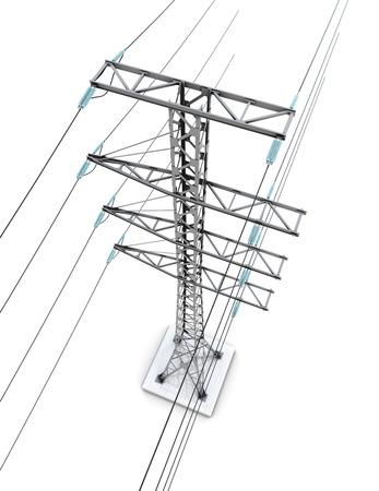 torres el�ctricas: torres de energ�a aislados sobre fondo blanco. 3d imagen.
