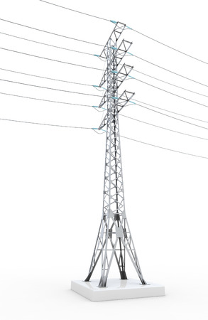 high tension: Power line isolated on white background. 3d illustration.