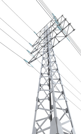 insulators: Power transmission tower isolated on white background. 3d illustration.