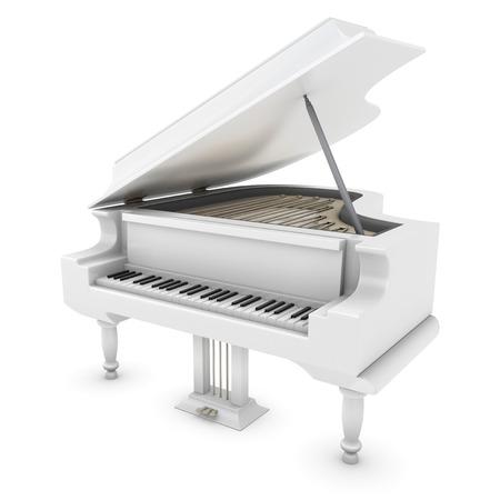 화이트 그랜드 피아노를 확대합니다. 그랜드 피아노 클리핑 패스. 3D 그림입니다.
