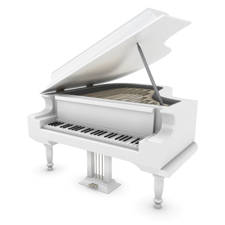 grand piano: White grand piano close-up. Grand piano clipping path. 3d illustration. Stock Photo