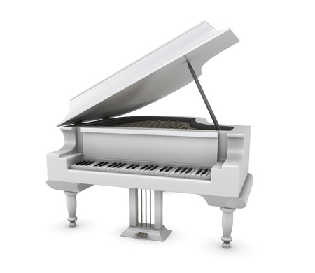 acoustically: White piano isolated on white background. Music instrument. 3d illustration.