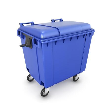 ゴミ箱は、白い背景で隔離の車輪の上できます。3 d イラスト。