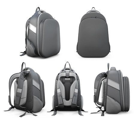 Backpack from different angles isolated on white background. 3d illustration.