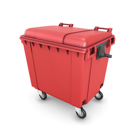 dumpster: Red trash can on wheels isolated on white background. 3d illustration.