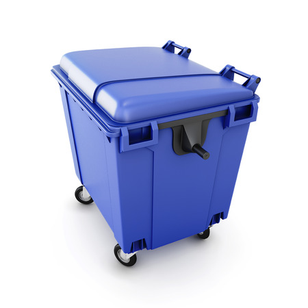 big bin: Blue trash can on wheels isolated on white background. 3d illustration. Stock Photo