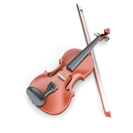 fiddlestick: Violin and fiddlestick isolated on white background. 3d render image.