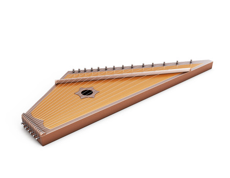 series: Psaltery under the white background. Gusli isolated on white background. 3d illustration. Music instruments series.