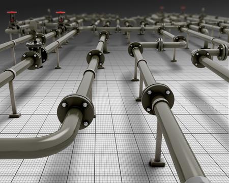 工業用配管のクローズ アップ。3 d のレンダリング イメージです。将来的にパイプします。