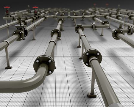 Industrial piping close-up. 3d render image. Pipes in the future. Stock fotó