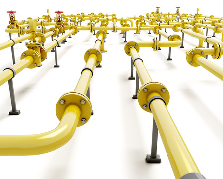 Industria gasl piping on a white background. 3d illustration.
