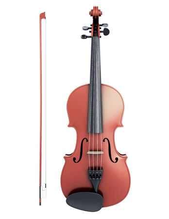 fiddlestick: Violin and fiddlestick front view isolated on white background. 3d illustration.