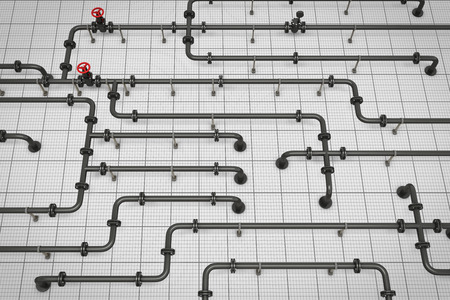 Conduit paper. 3d render image. branched pipeline. Stock Photo