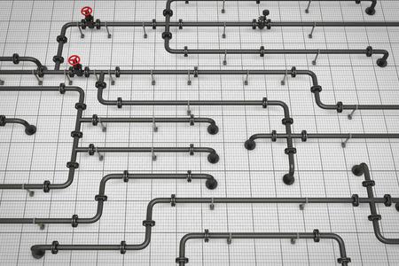 conduit: Conduit paper. 3d render image. branched pipeline. Stock Photo