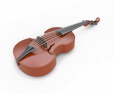 contrabass: Viola close-up isolated on white background. Music instrument. 3d illustration.