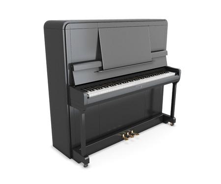 黒のアップライト ピアノは、白い背景で隔離。3 d イラスト。