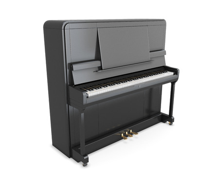 upright piano: Black upright piano isolated on white background. 3d illustration.