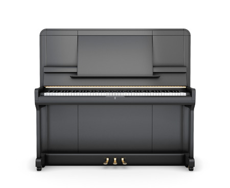 upright piano: Classical upright piano isolated on white background. Front view. 3d illustration.