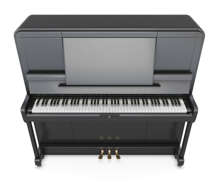 upright piano: Classical upright piano isolated on white background. Music instrument. 3d illustration.