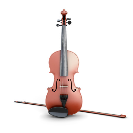 concerto: Violin and bow isolated on white background. 3d illustration. Stock Photo