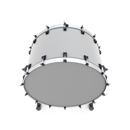 bass drum: Bass drum on a white. 3d illustration. Music instruments series.