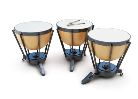 Kettledrums isolated on white background. 3d illustration. Music instruments series.