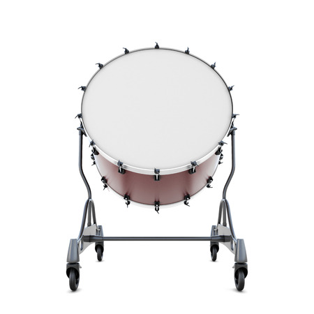 bass drum: Drum bass close-up isolated on white background. 3d illustration.