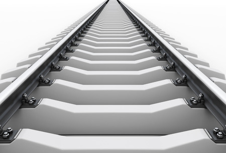 Railroad going into the distance on a white. Road to nowhere. 3d illustration.