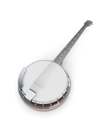 resonator: Banjo on a white. 3d illustration. Music instruments series.