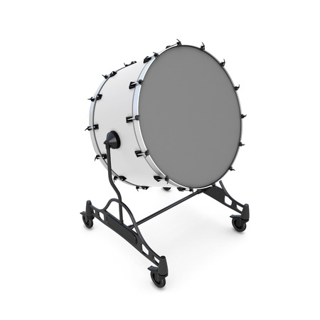 bass drum: Bass drum isolated on white background. 3d illustration. Music instruments series. Stock Photo