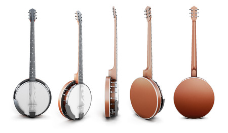 resonator: Banjo views from different angles isolated on white background. 3d illustration. Music instruments series.