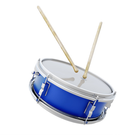 Drum with sticks isolated on white background. 3d illustration. Фото со стока