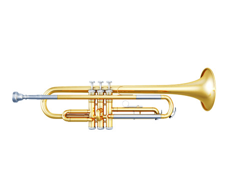 jazzy: Trumpet side view on a white background. 3d illustration. Music instruments series. Stock Photo