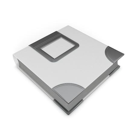 ledger: Blank cover photo album isolated on white background. 3d illustration. Stock Photo