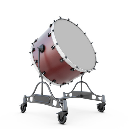 bass drum: Bass drum isolated on white abckground. 3d illustration.
