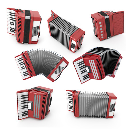 concertina: Set of accordion with different angles. Bayan isolated on white background. 3d illustration. Music instruments series. Stock Photo