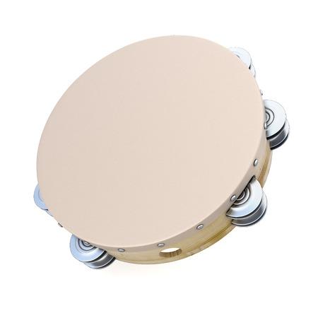 Tambourine on white background. 3d render image. Music instruments series. Standard-Bild