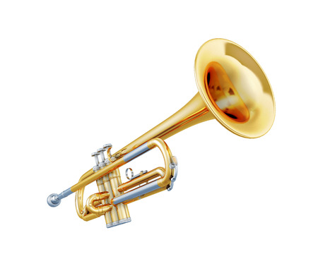 trumpet: Trumpet isolated on a white background. 3d illustration. Music instruments series. Stock Photo
