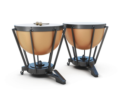 Timpani isolated on white background. 3d illustration.