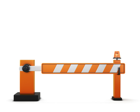 road closed: Closed barrier isolated on white background. 3d illustration. Road elements series.