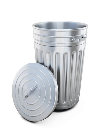 dispose: Opened trash can isolated on white background. 3d illustration. Stock Photo