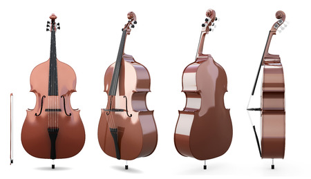 fiddle bow: Set of double bass on a white background. 3d illustration. Music instruments. Stock Photo