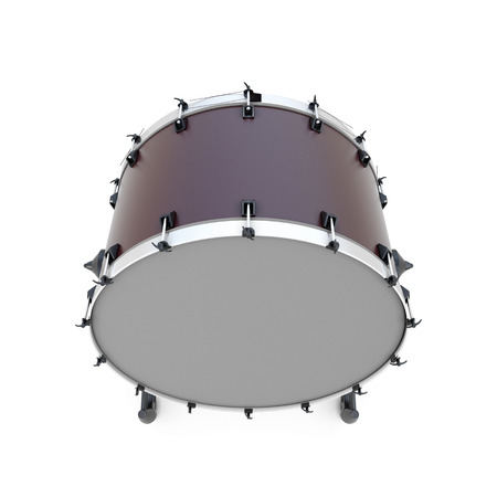 bass drum: Bass drum percussion instrument isolated on white background. 3d illustration.