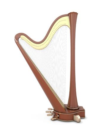 celtica: Arpa isolato su sfondo bianco. Strumenti musicali della serie. Illustrazione 3D. Archivio Fotografico