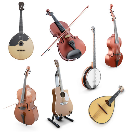 double bass: Set of string musical instruments isolated on white background. Domra, Mandolin, Guitar, Double bass, Banjo, Violin on a wihte. 3d illustration. Stock Photo