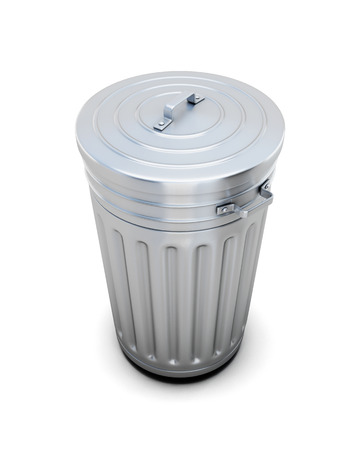 wastepaper basket: The closed metal trash can on a white. 3d render image.