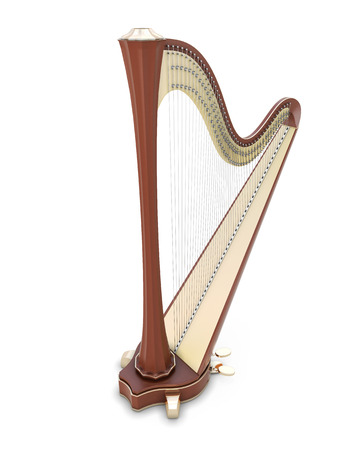 Harp on a white. 3d render image. Music instruments series.